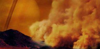 Recreación artística tormenta de polvo en Titán