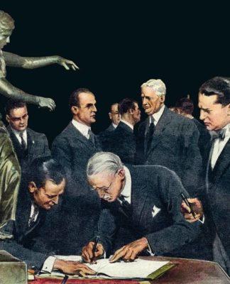 """Fragmento de la ilustración de cubierta de """"El caso del banquero asesinado"""", de Augusto de Angelis"""