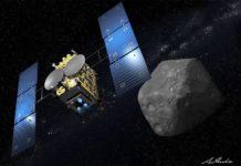 Nave espacial Hayabusa2 junto al asteroide Ryugu