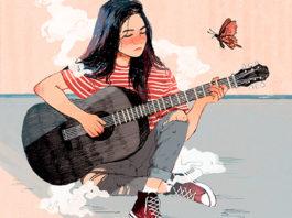 """Ilustración de portada de """"La chica de las mariposas"""" de Javier Martínez diseñada por Marina Speer.   Fuente: Roomie Ediciones."""