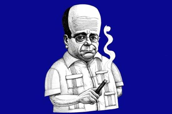 Caricatura de Manuel Vázquez Montalbán, creador de Pepe Carvalho
