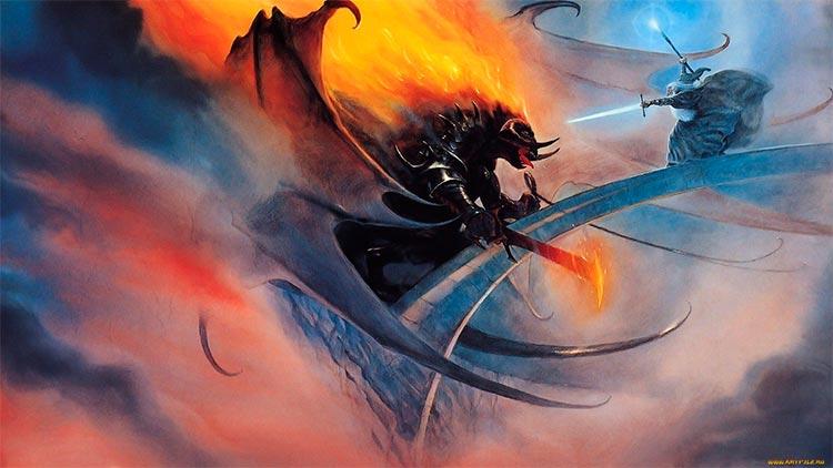 Lucha de Balrog y Gandalf en Khazad-Dûm