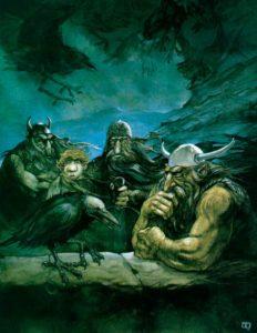 Los Enanos junto a Bilbo y el zorzal