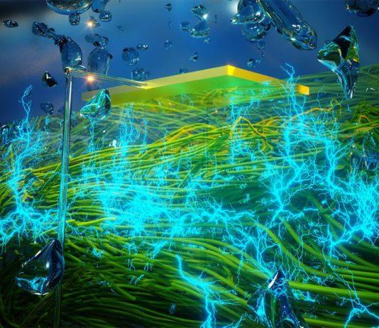 Película delgada de nanocables de proteínas que generan electricidad a partir de la humedad atmosférica