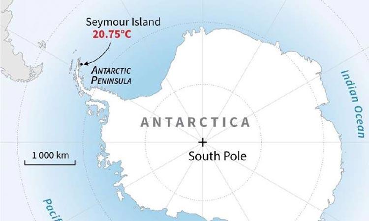 Mapa de la Antártida que ubica la isla Seymour, que registró su temperatura más alta el 9 de febrero