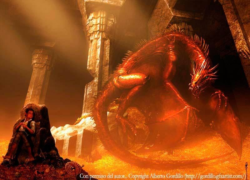 Bilbo habla con el dragón Smaug, por Alberto Gordillo