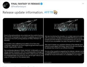 comunicado Square sobre FFVII Remake