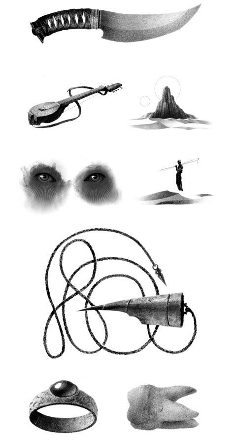 Pequeños dibujos de la edición especial de Dune, de Frank Herbert