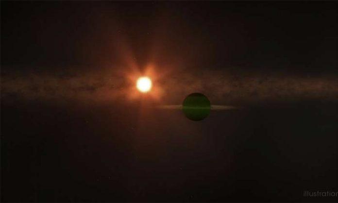 Ilustración de AU Mic b orbitando su estrella madre, AU Mic.