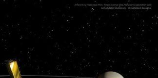 Ilustraciones de Saturno, Titán y la nave espacial Cassini. Crédito: Francesco Fiori