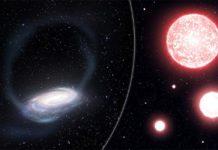 Impresión artística de la delgada corriente de estrellas arrancadas del cúmulo globular de Phoenix, envolviendo nuestra Vía Láctea (izquierda).