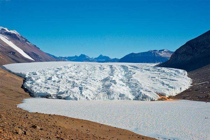 Primer plano: el lago Bonney hipersalino cubierto de hielo en la Antártida. Detrás: el Glaciar Taylor. Crédito: Rachael Morgan-Kiss