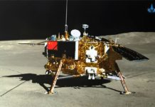 La sonda lunar Chang'e-4, fotografiada desde el rover Yutu-2
