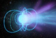 Concepción artística de un magnetar: una estrella de neutrones superdensa con un campo magnético extremadamente fuerte