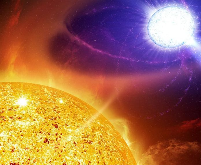 Impresión artística de una estrella simbiótica al borde de una erupción