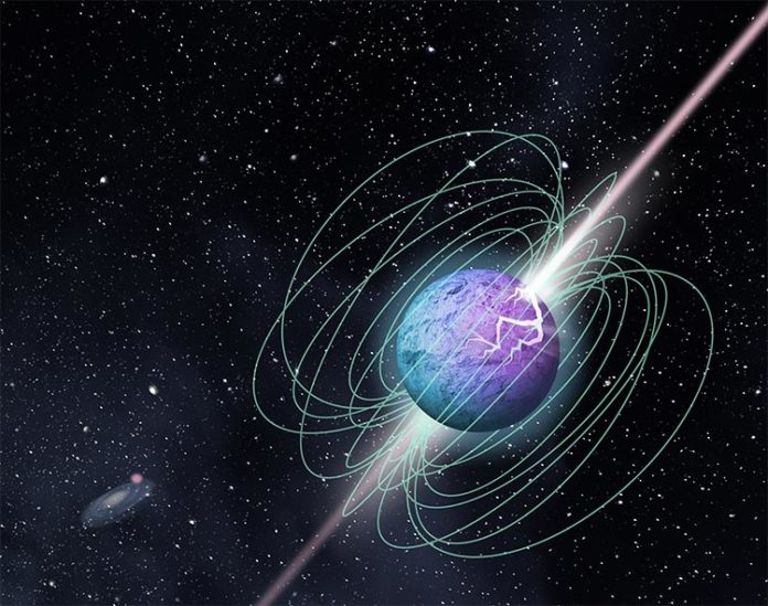 Impresión artística de un magnetar en explosión