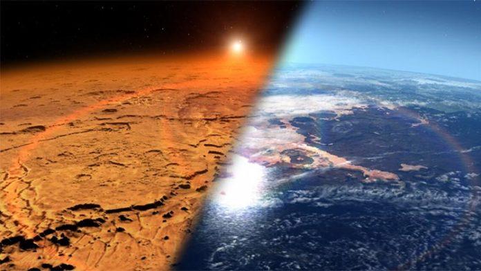 Este artista representa el entorno marciano temprano (derecha), que se cree que contienía agua líquida y una atmósfera más espesa, frente al ambiente frío y seco que se ve en Marte hoy (izquierda)