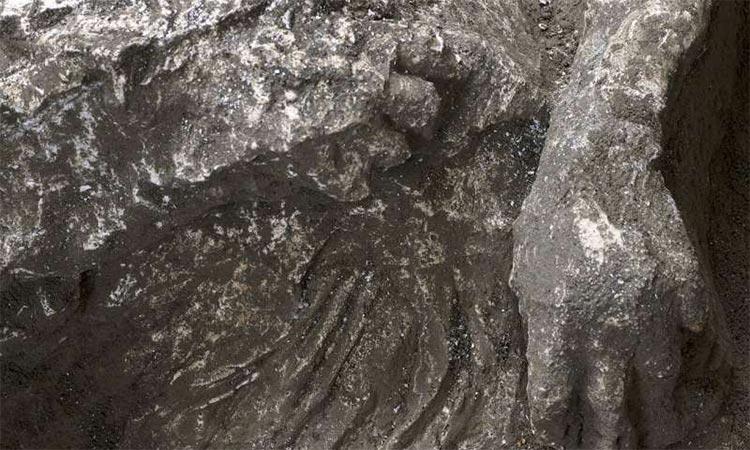 Detalle de uno de los cuerpos hallados en Pompeya
