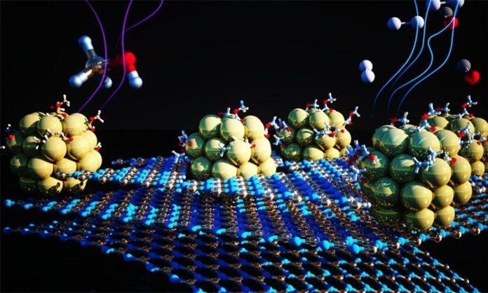 Ilustración del sustrato de nitruro de boro en 2D con imperfecciones que albergan pequeños racimos de níquel. El catalizador ayuda a la reacción química que elimina el hidrógeno de los portadores químicos líquidos, haciéndolo disponible para su uso como combustible