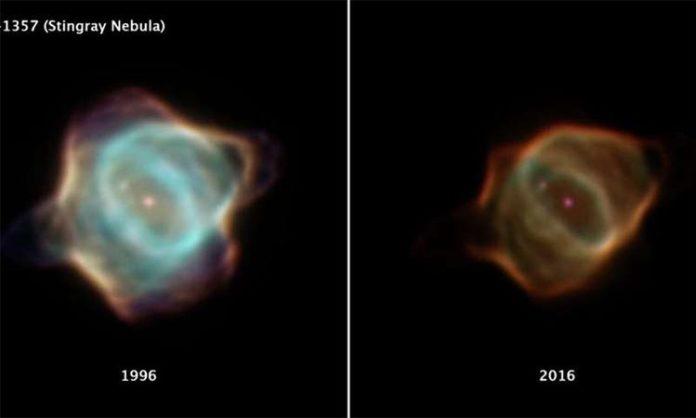 Evolución de la nebulosa Mantarraya de 1996 a 2016
