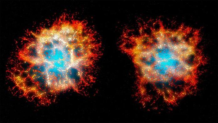 Reconstrucción en 3D del remanente de la nebulosa del Cangrejo visto desde la Tierra (derecha), y desde otro punto de vista mostrando su morfología en forma de corazón (izquierda).