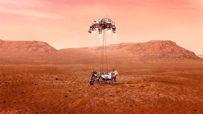 Una ilustración del rover Perseverance de la NASA aterrizando con seguridad en Marte