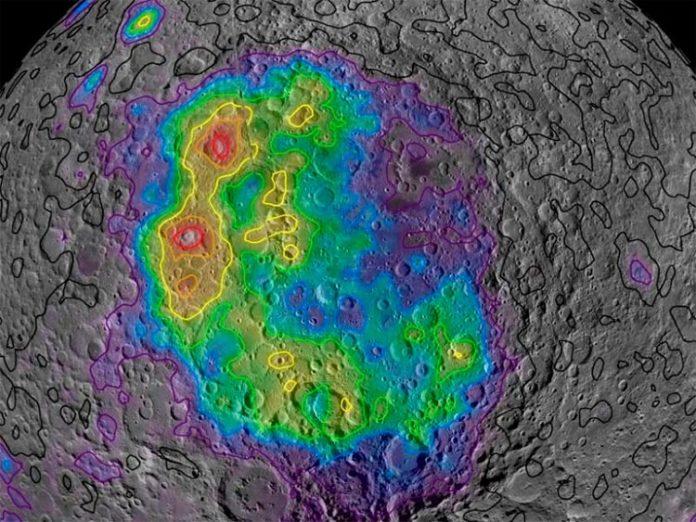 Aquí se muestran las concentraciones de torio medidas por Lunar Prospector a lo largo de la vasta Cuenca Aitken en el lado opuesto de la Luna, lo que ilustra cómo el material del manto expulsado por un impacto de hace unos 4.300 millones de años se distribuye actualmente por la superficie, y da una idea de cómo era entonces el manto lunar