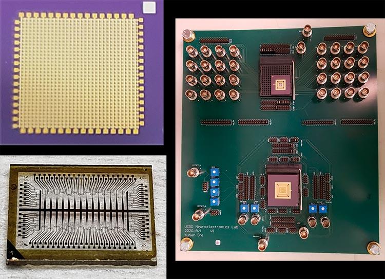 Izq.: Primeros planos de la matriz de dispositivos sinápticos (arriba) y la matriz de dispositivos de activación, o neurona (abajo). Der.: Una placa de circuito impreso personalizada construida con las dos matrices