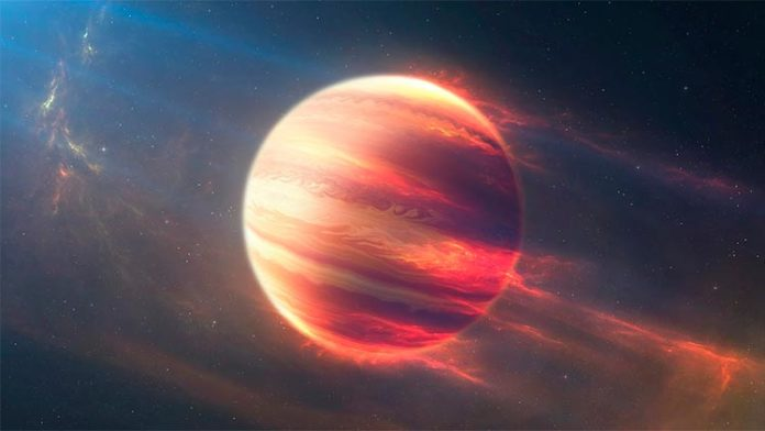 Ilustración de un Júpiter caliente