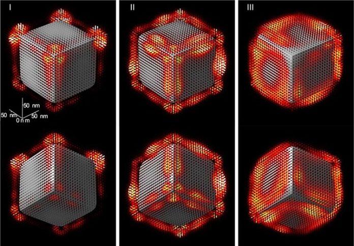 Nanoelectrónica: Reconstrucción 3D del campo electromagnético que rodea a un nanocubo de óxido de magnesio