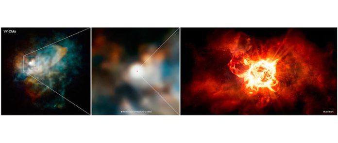 Este zoom en VY Canis Majoris es una combinación de imágenes del Hubble y la impresión de un artista