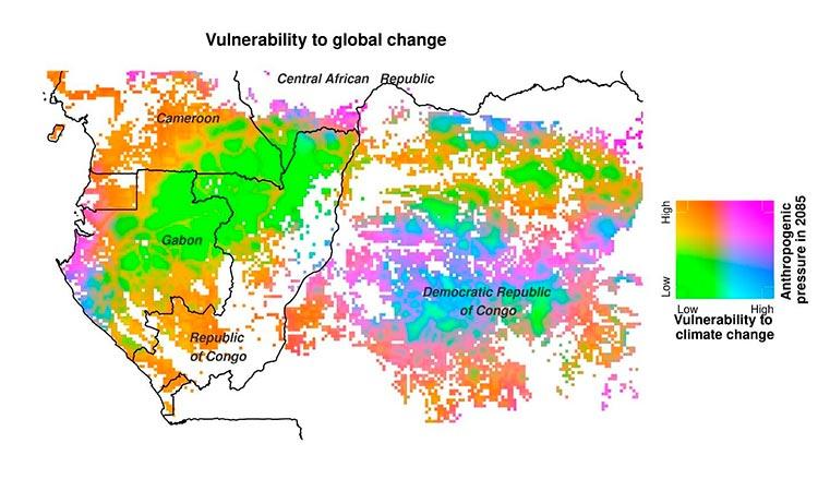Gradiente de vulnerabilidad de los bosques de África Central al cambio climático y aumento de la presión humana para 2085