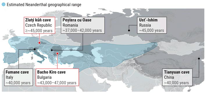 Alcance geográfico estimado de los neandertales