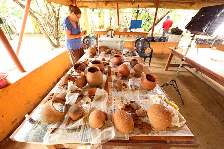 Los recipientes Nok excavados se limpian y fotografían en la estación de investigación de Janjala para estudiar la antigua recolección de miel: Dra. Gabriele Franke