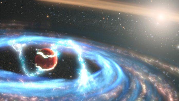 Esta ilustración del exoplaneta PDS 70b que se está formando recientemente muestra cómo el material puede caer sobre el planeta gigante a medida que aumenta la masa