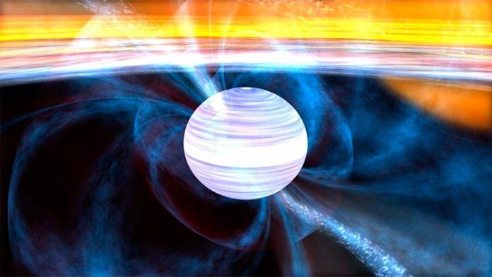 Representación artística de un púlsar de milisegundos con su disco de acreción
