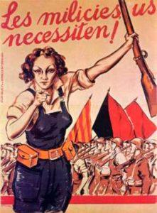 Guerra Civil Española: cartel a favor del alistamiento en las milicias