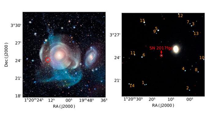 El panel de la izquierda muestra una imagen en color que se sintetiza a partir de observaciones en bandas gr obtenidas por el CFHT antes del descubrimiento de la supernova SN 2017fgc