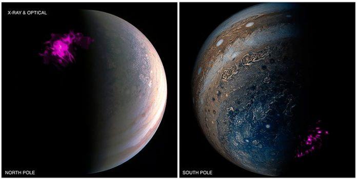 Imágenes superpuestas del polo de Júpiter del satélite Juno de la NASA y el telescopio de rayos X Chandra de la NASA. La izquierda muestra una proyección de la aurora de rayos X de Júpiter en el norte (púrpura) superpuesta sobre una imagen visible de Junocam del Polo Norte. La derecha muestra la contraparte del sur