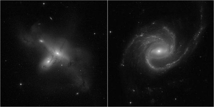 Estas dos imágenes de galaxias son algunas de las primeras vistas desde la recuperación del Telescopio Espacial Hubble, tomadas el 17 de julio de 2021 después de que se reanudaran las operaciones científicas luego de un mes de trabajo para resucitar el observatorio de un fallo informático