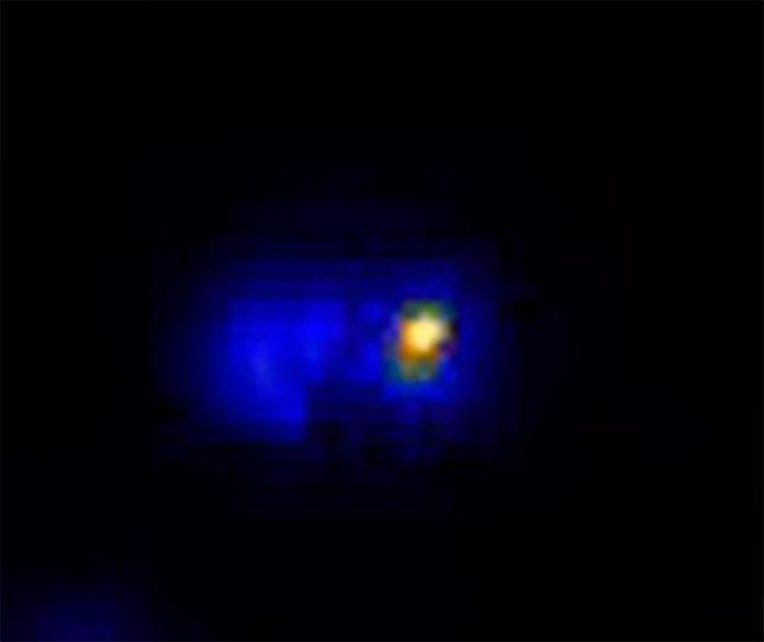Bacterias: La microscopía de una sola molécula revela un motor de aproximadamente 50 nanómetros en la bacteria que se muestra aquí como una mancha amarilla brillante