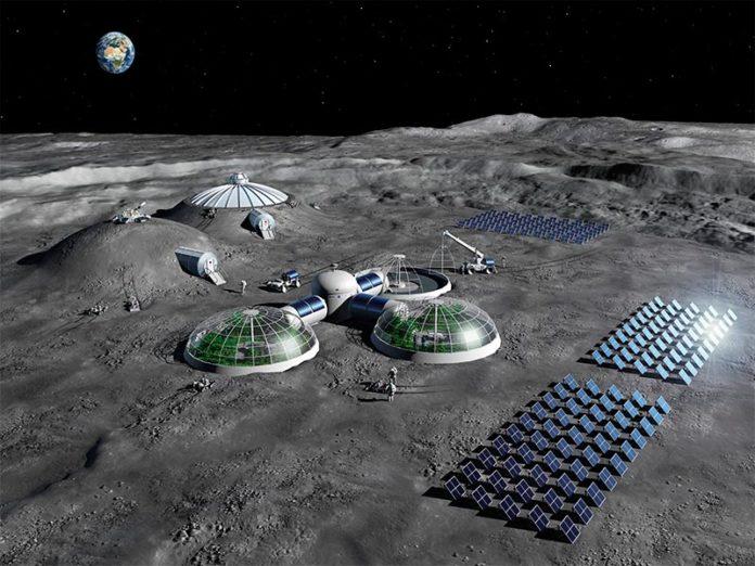 Impresión artística de cómo deberían ser las futuras bases lunares