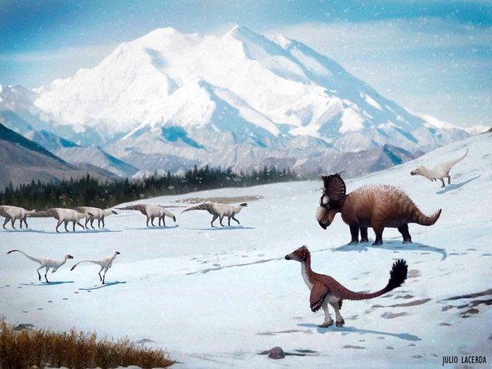 Los dinosaurios encontrados en la formación Prince Creek de Alaska probablemente permanecieron en la región cuando nevó durante el invierno
