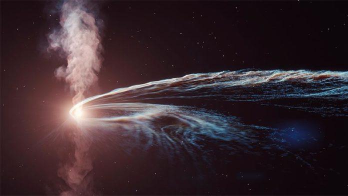 Ilustración artística del evento de disrupción de marea AT2019dsg, donde un agujero negro supermasivo espaguetiza y devora una estrella. Parte del material no es consumido por el agujero negro y es arrojado al espacio