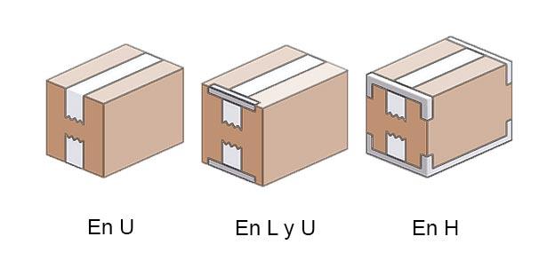 Cierres de cajas con cinta adhesiva, en L, U, en L y U y en H